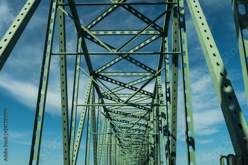 Green metal beams of the Astoria - Megler Bridge  Bridge in Astoria, Oregon, USA Canvas Print