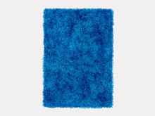 Ractangle Fur Blue Carpet On A White Background 3d Rendering