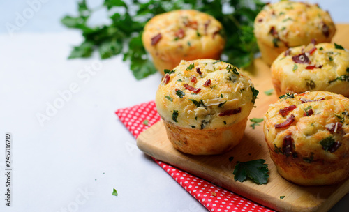 Canvas Print Savory Muffins with Cheese and Bacon, Freshly Baked Tasty Snack