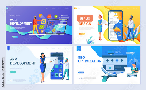 Photo  Set of landing page template for Web and App Development, UI/UX Design, SEO