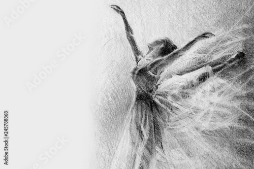 ballerina in the jump. sketch. graphic arts. pencil drawing