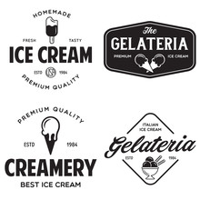 Set Of Vintage Ice Cream Shop Logo Badges And Labels, Gelateria Signs. Retro Logotypes For Cafeteria Or Bar.