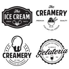 Set Of Vintage Ice Cream Shop ...