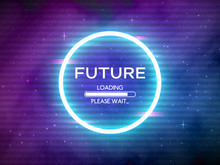 Glitch Retro Future. Glowing Neon Circle. Round Frame With Data Loading. Space Background And Futuristic Concept With Glitched Elements. Sci-Fi Backdrop. Cosmic Theme. Vector Illustration