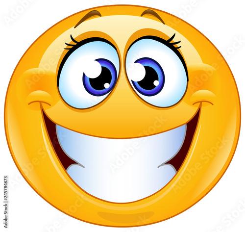 Fototapeta grinning female emoticon