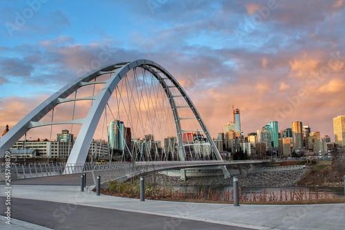 Spoed Fotobehang Bruggen Sunset Bridge Walkway