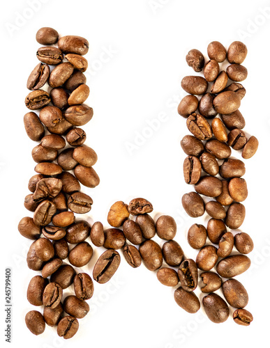 Canvas Prints Coffee beans W letter made from coffee beans isolated on white background