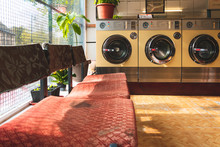 Coin-operated Washing Machines At A Vintage Laundromat
