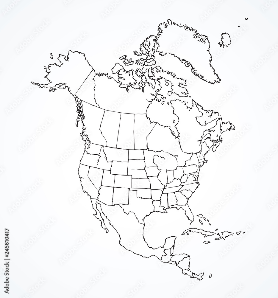 Fototapeta North American continent with contours of countries. Vector drawing