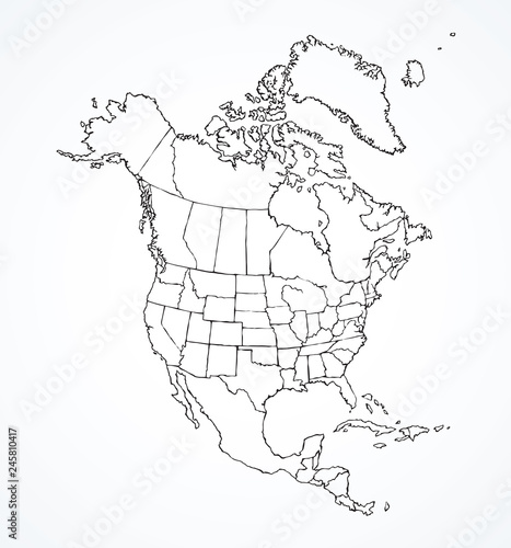 Cuadros en Lienzo North American continent with contours of countries