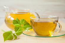 Herbal Tea Served With Fresh Raspberry Leaves