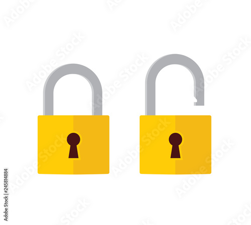 Lock open and lock closed icons. Padlock symbol - stock vector.