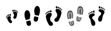 Set Different Human Footprints. Baby Footprint - Stock Vector.