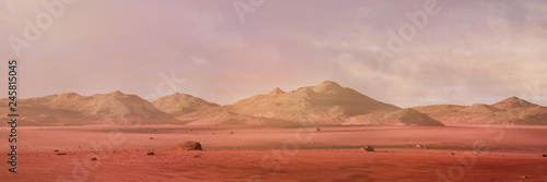 Photo Stands Salmon landscape on planet Mars, scenic desert surrounded by mountains on the red planet (3d space rendering banner)