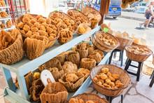 Sea Sponge On Display In Street Shop On Symi Island (Rhodes, Greece)