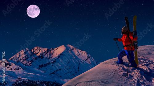 Fototapeta Scenic panorama sunset landscape of Crans-Montana range in Swiss Alps mountains with peak in background, Crans Montana, Switzerland. obraz