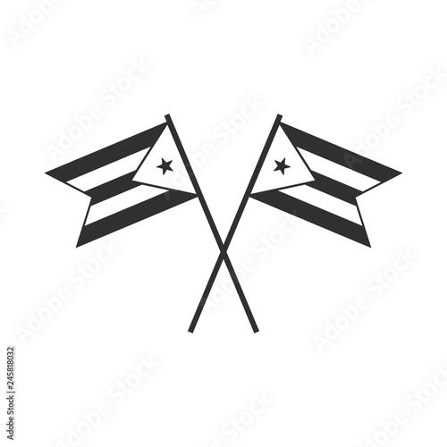 Photo  Cuba flag icon in black outline flat design