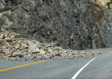 Rock Slide Along The Highway