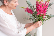 Closeup Of Senior Woman In Whi...