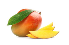 Delicious Ripe Mangoes On Whit...