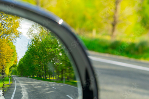 Road check in rear vision mirror Canvas Print