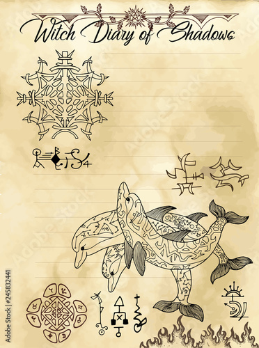 Witch diary page 17 of 31 with esoteric dolphins, sacred