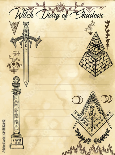 Witch diary page 31 of 31 with freemasonry and secret society symbols and signs Wallpaper Mural