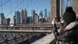 Amazing view over the skyline from Brooklyn Bridge New York
