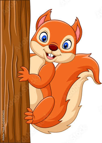 Cuadros en Lienzo  Cartoon cute squirrel climbing on a tree