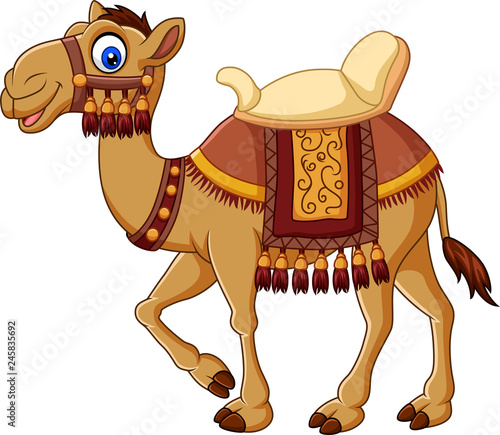 Foto Cartoon funny camel with saddlery