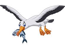 Cartoon Albatross Eating A Fish