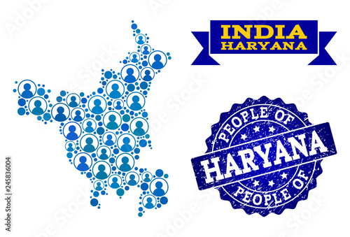 People composition of blue population map of Haryana State