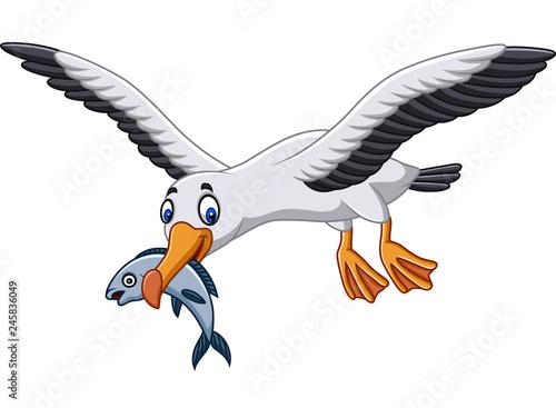 Fototapeta premium Kreskówka albatros jedzący rybę