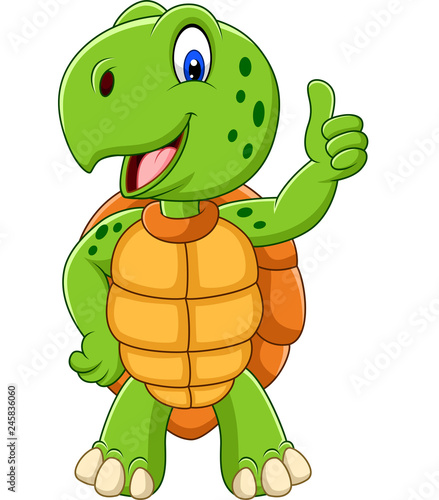 Fototapeta Cartoon turtle giving a thumb up