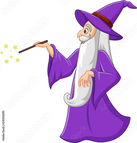 Fototapeta Cartoon old wizard with magic wand