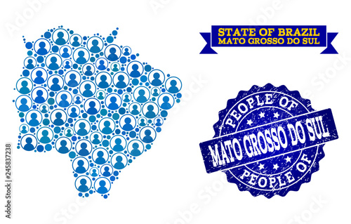 Fotografija  People composition of blue population map of Mato Grosso do Sul State and scratched seal