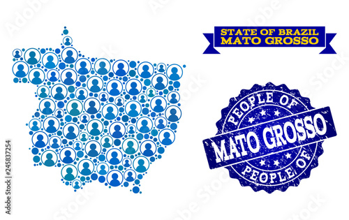 Fotografija  People combination of blue population map of Mato Grosso State and rubber seal stamp
