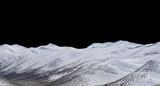 szczyt górski ze śniegiem na białym na czarnym tle - 245837420