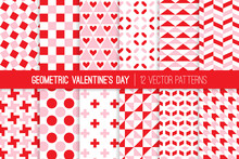 Modern Valentine's Day Geometric Vector Patterns. Red Pink White Bold Geo Prints For Wrapping Paper Or Card-making. Holiday Backgrounds. Repeating Pattern Tile Swatches Included.