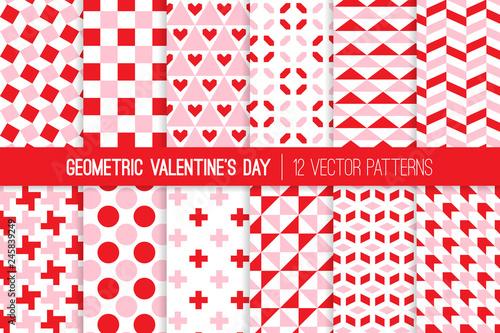 Photo  Modern Valentine's Day Geometric Vector Patterns