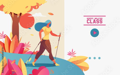 Obraz Vector horizontal web banner or landing page with young woman doing nordic walking. Illustration drawn with gradients, greenery and outdoor scene, template with text for healthy lifestyle and wellness - fototapety do salonu