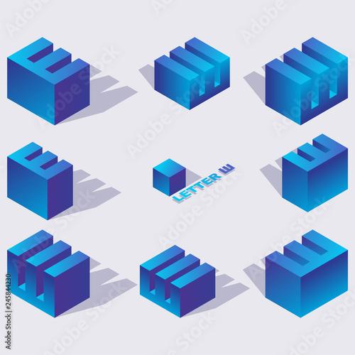 Fotografie, Obraz  Cyrillic letter sha in isometric 3d views