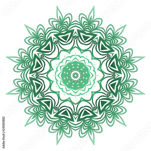 Photo  Green color Ornamental Circle Pattern