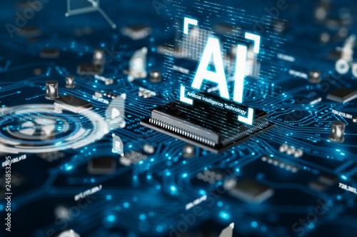 Foto 3D render AI artificial intelligence technology CPU central processor unit chips