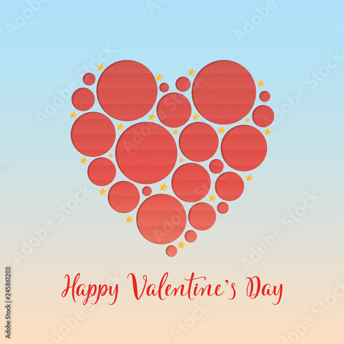 Valentine S Day Decorated Red Heart And Hand Lettering Text