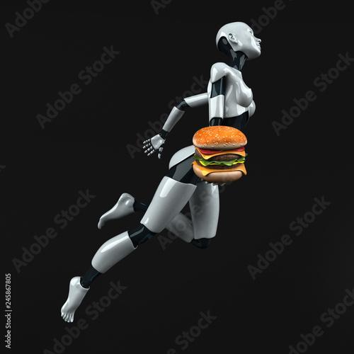 Canvas Prints Countryside Robot - 3D Illustration