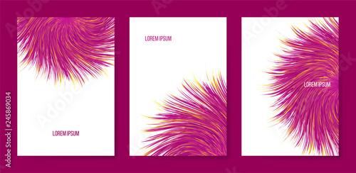 Vector abstract banners with colorful furry bunch, triptych with imitation synthetic vortex fur Wallpaper Mural
