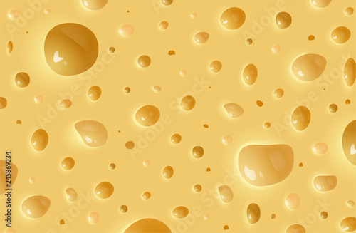Fototapeta Vector realistic cheese background. Texture of cheese obraz