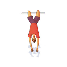 Young Male Hanging Upside Down On Horizontal Bar. Man In Sportswear. Healthy Lifestyle. Cartoon Vector Design