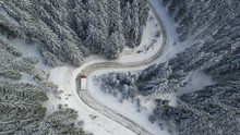 Curvy, Winding, Winter, Mountain Road With A Truck Minibus